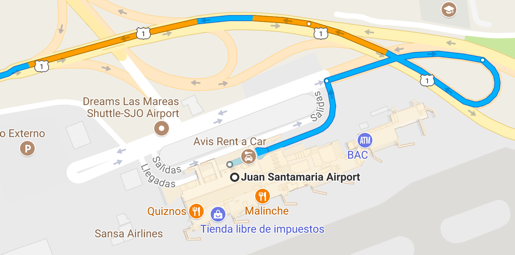 Driving Directions From San Jose Airport BP Surf Hotel Playa